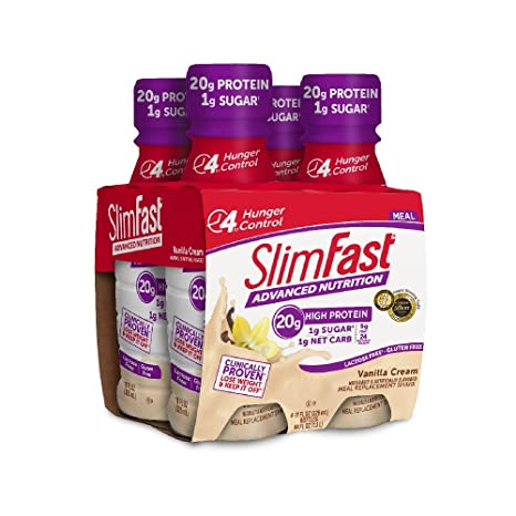 Amazon.com: SlimFast Advanced Nutrition Vanilla Cream Shake – Meal Replacement – 20g of Protein – 11oz – 4 Count: Health & Personal Care