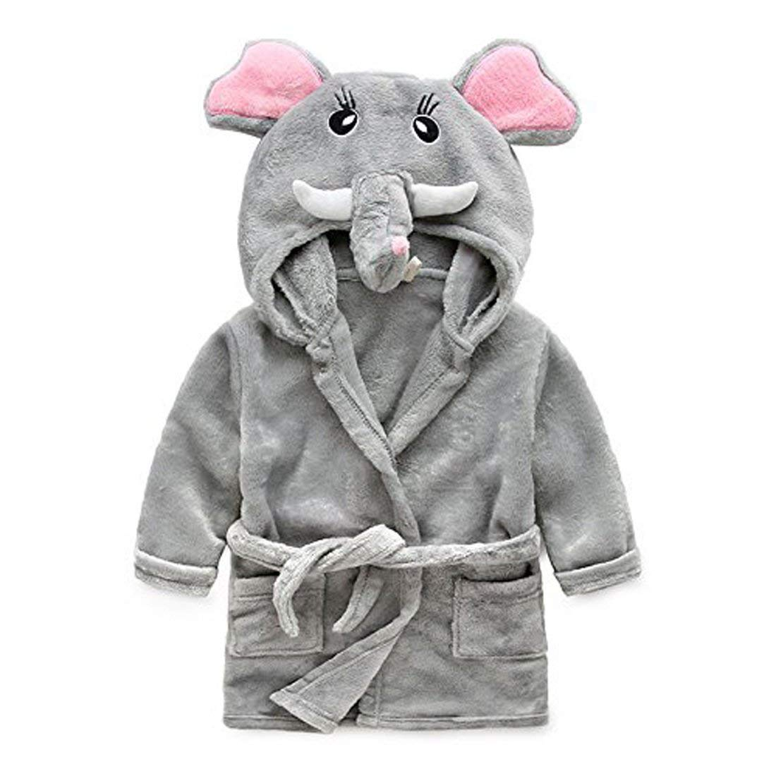 Toddler//Kids Hooded Plush Robe Animal Fleece Bathrobe Children Pajamas