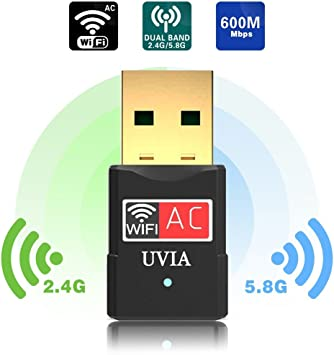 Amazon.com: UVIA adaptador wifi usb 600 Mbps 2.4 G/5G Banda ...
