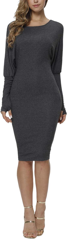 Meenew Womens Solid Elegant Knee Length Formal Evening Bodycon Dress Grey L