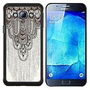 EJOOY---Cubierta de la caja de protección para la piel dura ** Samsung Galaxy A8 A8000 ** --lápiz del arte gráfico del modelo de color beige de plumas