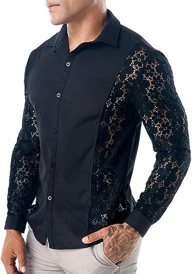 VPASS Hombre Camisas, Manga Larga Casual Impresión Camisa de Moda Club Nocturno Hueco Fiesta Encaje Slim Fit Long Sleeve Blusa Tops Botón Shirt Diseño de Personalidad: Amazon.es: Ropa y accesorios