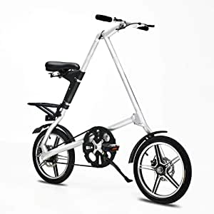 AUTOKS 16 Inch Aluminum Alloy Folding Bicycle Adult Men and Women Bicycle Bicycle White