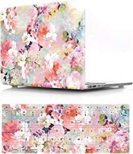 """HRH 2 in 1 Pink Watercolor Flower Laptop Body Shell PC Protective Hard Case Cover and Matching Silicone Keyboard Cover for MacBook Air 11 inch 11.6""""(Models: A1370 and A1465)"""