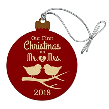 graphics more our first christmas as mr and mrs 2018 married kissing birds red background - Pharmacy Christmas Ornaments