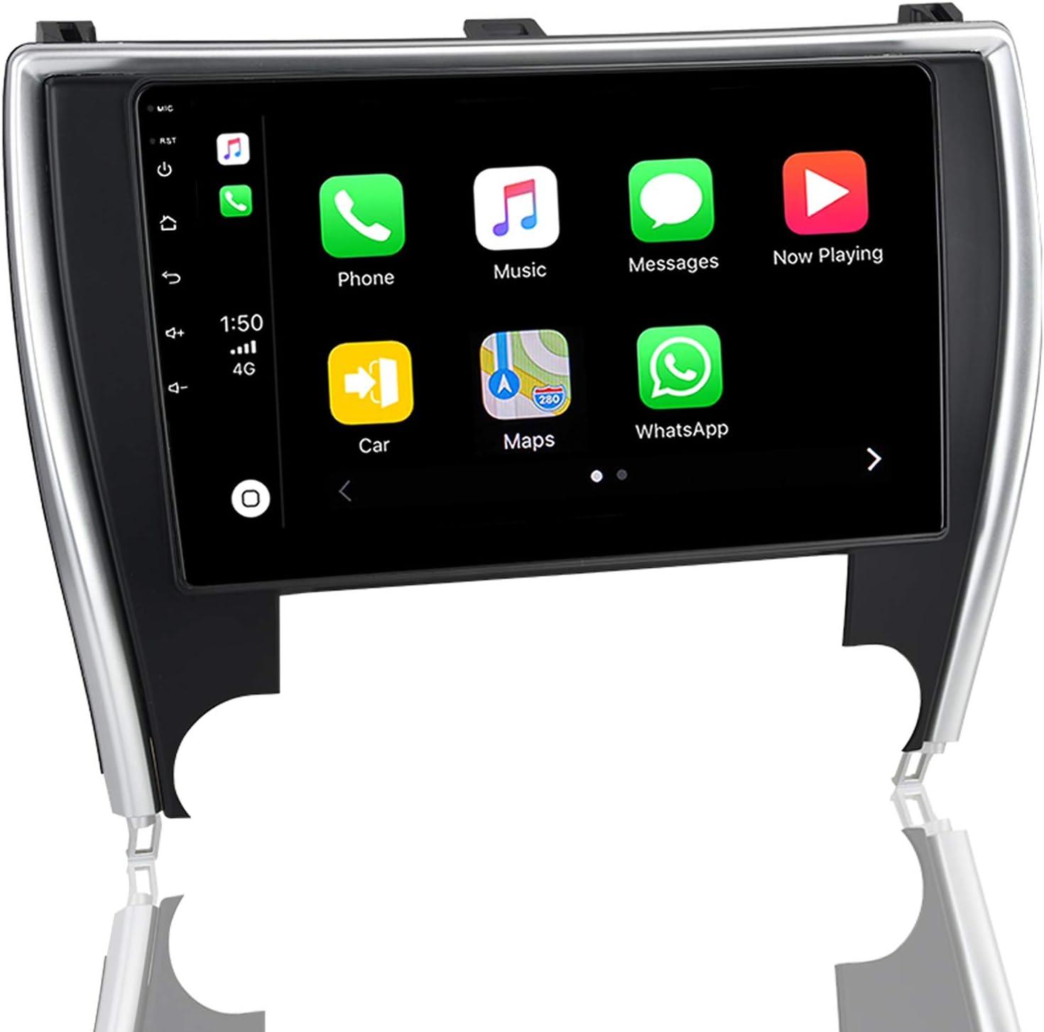 ViaBecs Android 10.0 Car Stereo with Bluetooth 5.0 Wireless Carplay for Toyota Camry 2015-2017 Single Din Head Unit Car Audio 1280 x 720 Google Maps Split Screen USB RDS Radio SWC 4GB/64GB