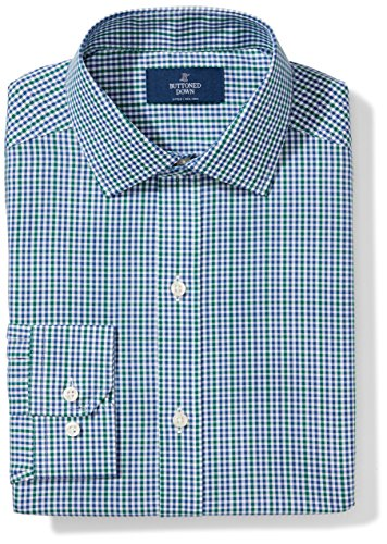 Buttoned Down Men's Fitted Spread Collar Pattern, Green/Blue Check, 20