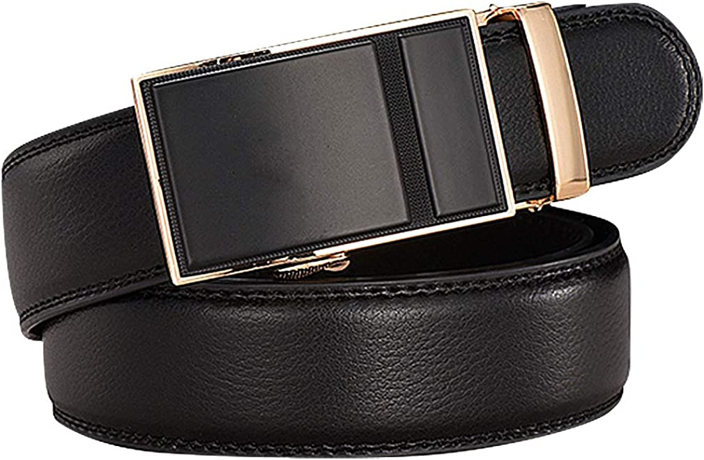 Celino Men Stitch Solid Color Genuine Cowskin 1.38 Wide Automatic Buckle Belt