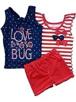 Young Hearts Girls 3 PC Set Little Love Bug Tank Top Striped Shirt & Shorts