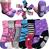 Baby Socks 6 Pairs 12-24 Months Baby Girl Toddler Socks Anti Slip Stretch Knit Grips Cotton Shoe Socks Slippers Non-Skid Gripper