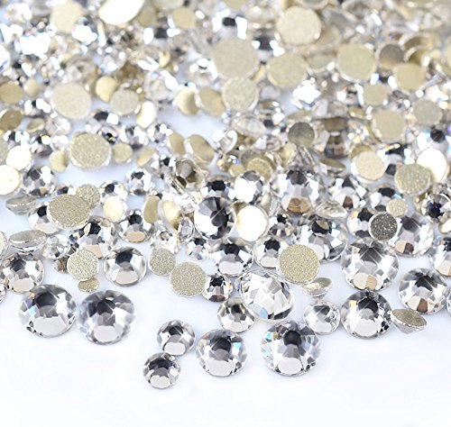 Rhinestones Loose (450 pcs 2mm - 6mm Resin clear crystal round Rhinestones Flatback Mix SIZE ~ M1-23 [By Zealer])