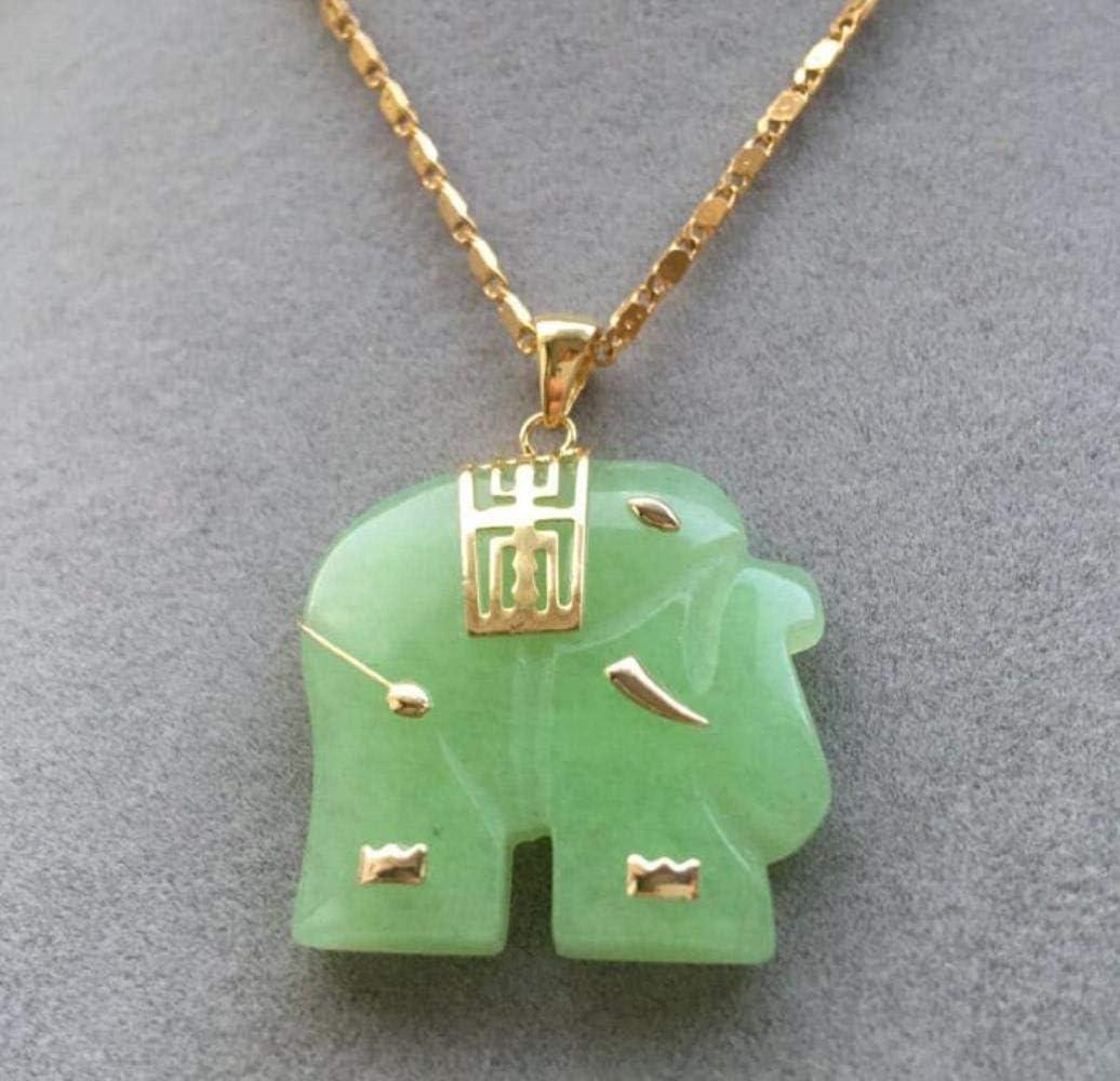 FUYU Collar con Colgante de Elefante de Jade Verde Natural asiático, A
