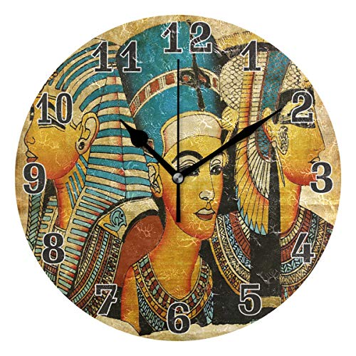 - WXLIFE Ancient Egyptian Parchment Round Acrylic Wall Clock, Silent Non Ticking Art Painting for Kids Bedroom Living Room Office School Home Decor