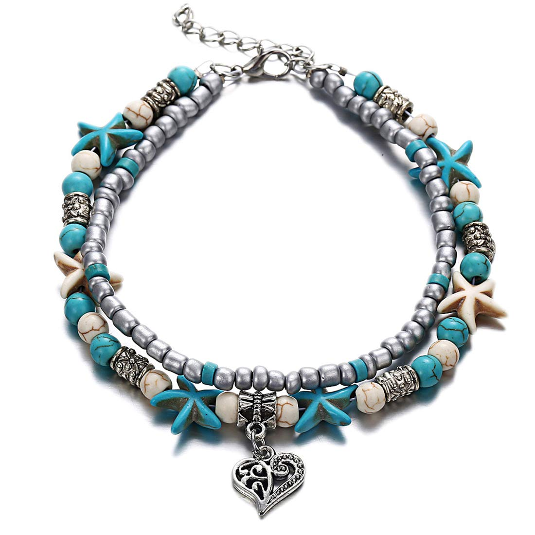 Marrymi Women Boho Anklet Foot Jewelry Blue Starfish Turtle Anklet Multilayer Charm Beads Sea Handmade