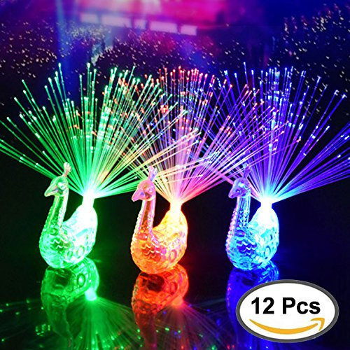 ZapFirst 12Pcs Creative Colorful Peacock Finger LED Light Ring for Parties Cheering Novelty Toys Gift For (Peacock Party)