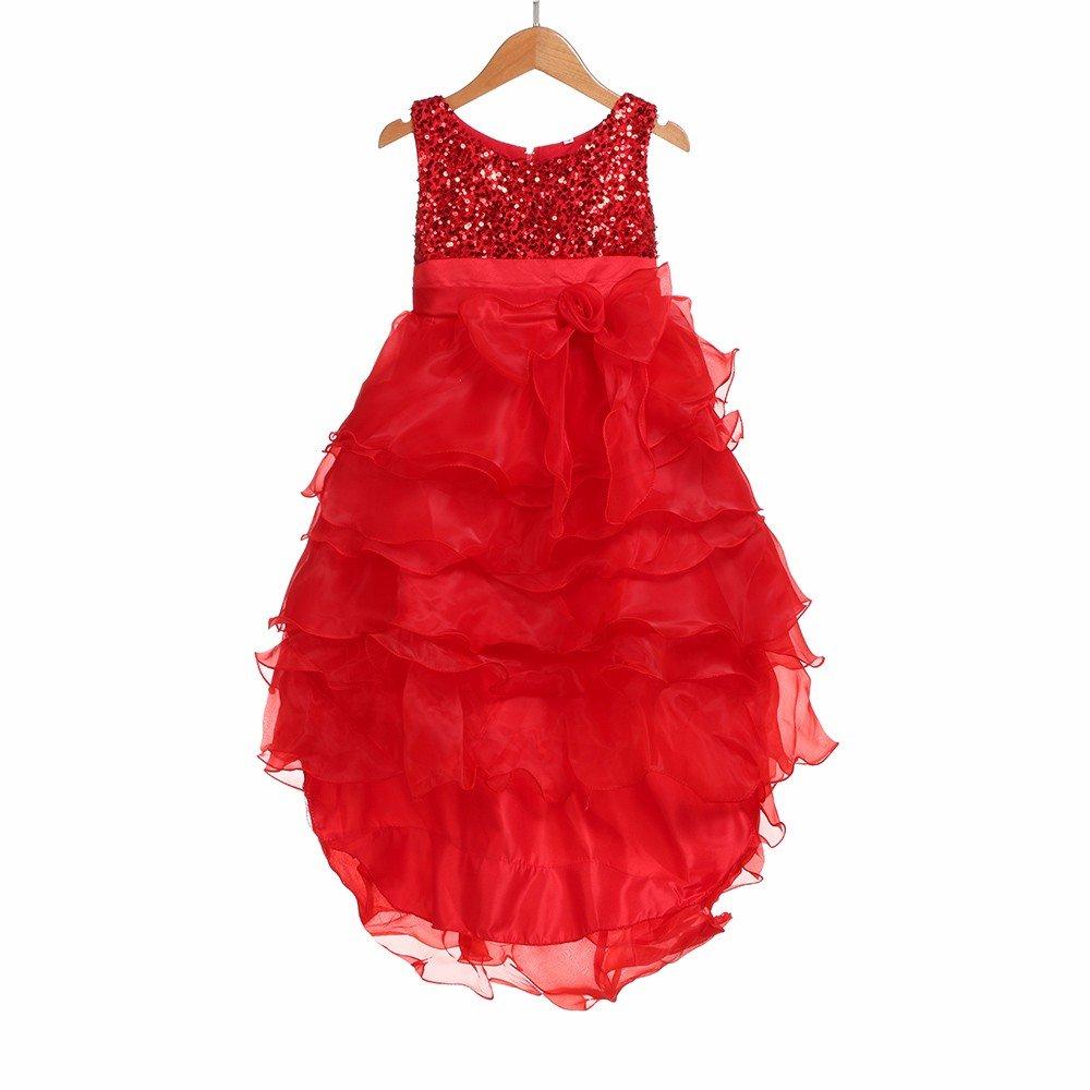 MOMKER Toddler Girls Bowknot Tiered Wedding Bridesmaid Sleeveless Tutu Princess Dress