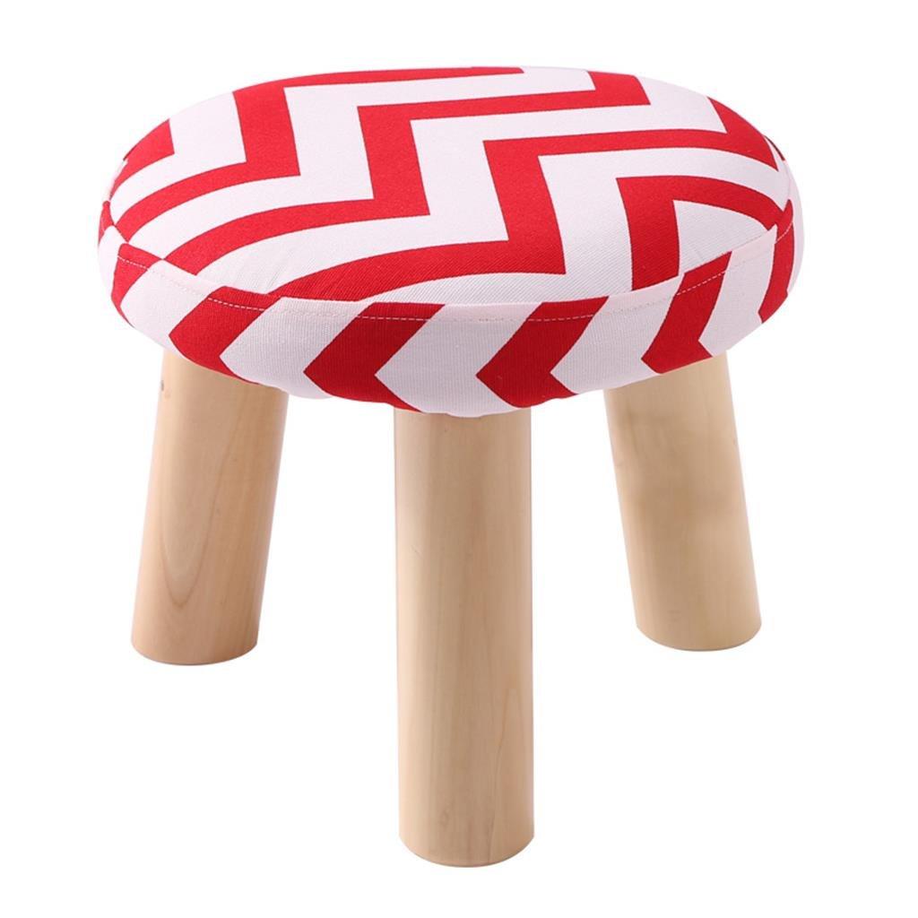 Mr.Zhang's Art Home Hocker Rot gestreifter Stuhl aus massivem Holz, waschbar