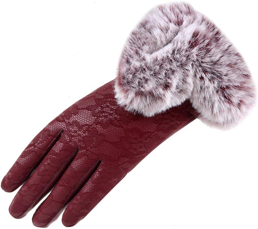 HLIYY Femme Gants Hiver Polaire Chaud Ecran Tactile Fourrure au Poignet Coquet Adorable Elastique Gants Womens Sport gants chauds
