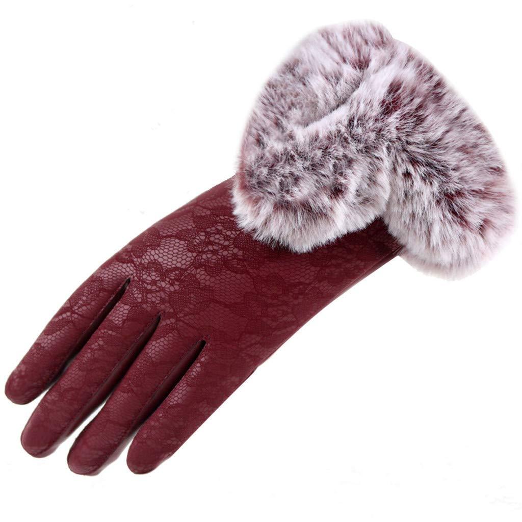 Women Leather Gloves,Velvet Lace Winter Gloves Warm Touchscreen Gloves Windproof Gloves Winter Using