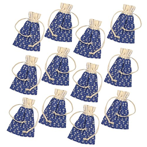 Anchor Print Cotton Drawstring Gift Bags- Nautical Favor Bags - 3.5 x 5 Inches - 12 Pack