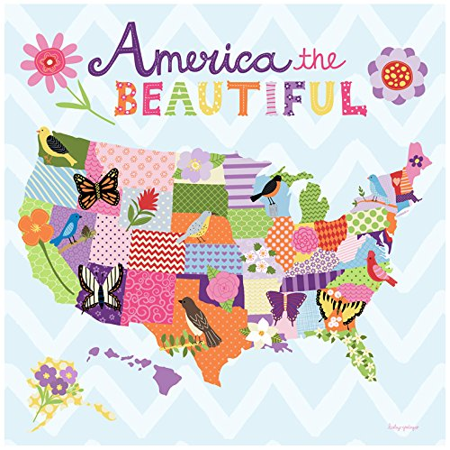 BR &Nameinternal - Beautiful America - Girl canvas Wall Art, by
