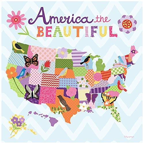 BR &Nameinternal - Beautiful America - Girl canvas Wall Art, by