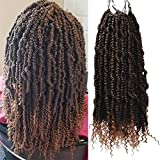 Bomb Twist Crochet Hair Curly Ends Pre Twisted Soft Light Hair Extensions(14inch,#1B/27,6pcs)