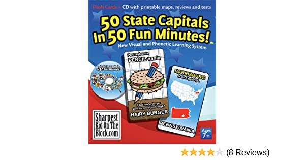 photograph regarding 50 States Flash Cards Printable called 50 Region Capitals within 50 Enjoyment Minutes!: Ken Bradford