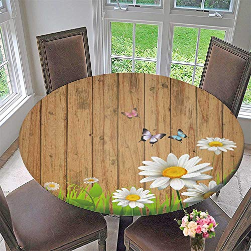 (Mikihome Picnic Circle Table Cloths Antique Old Planks American Style Western Rustic Wooden and White Daisies, Grass and Butterflies for Family Dinners or Gatherings 47.5