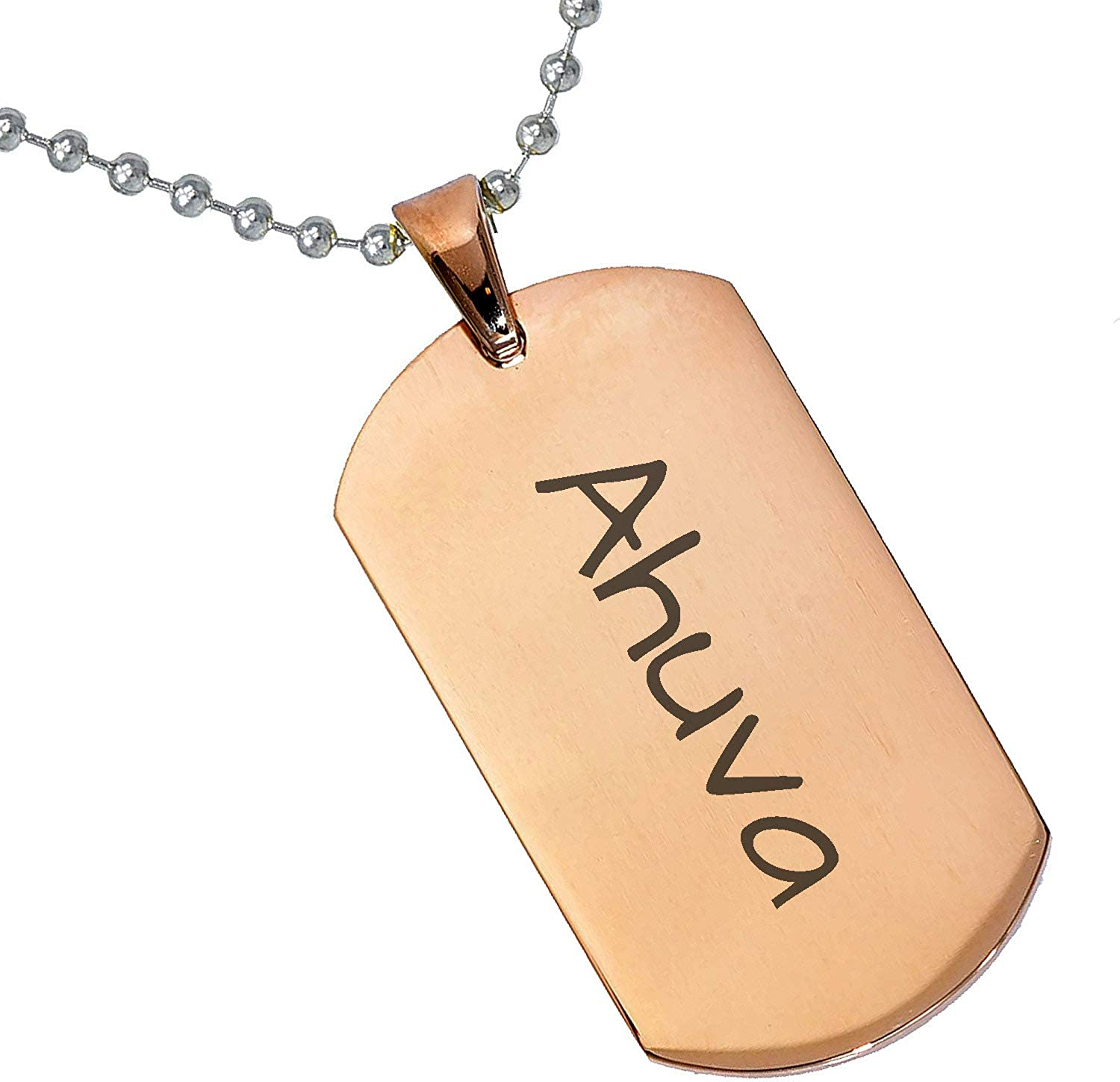 Stainless Steel Silver Gold Black Rose Gold Color Baby Name Ahuva Engraved Personalized Gifts For Son Daughter Boyfriend Girlfriend Initial Customizable Pendant Necklace Dog Tags 24 Ball Chains