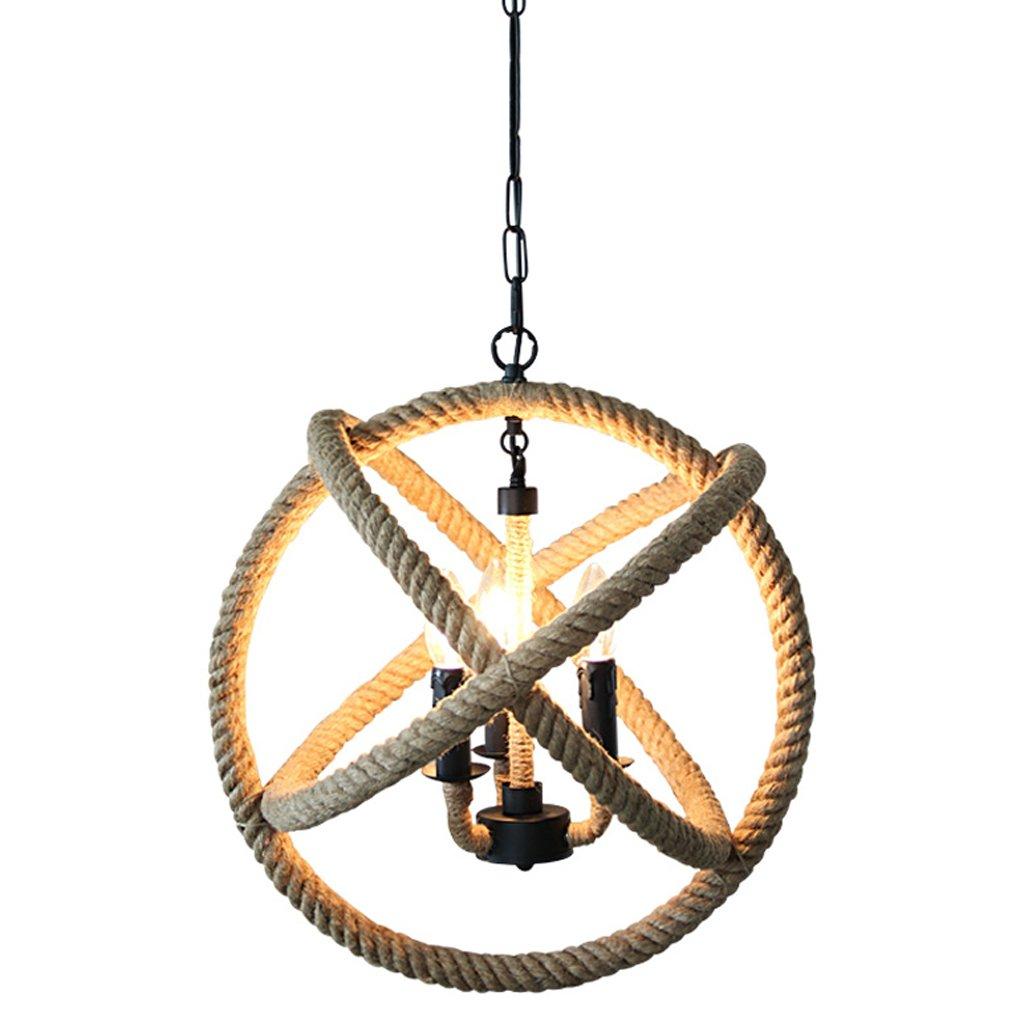 XHJJDJ 3 Light Retro Hemp Rope Light Ball-Shaped Ceiling Pendant Lights, Vintage Retro Country Style Chandelier Dining Hall Restaurant Bar Cafe Lighting (Size : 35cm in diameter)