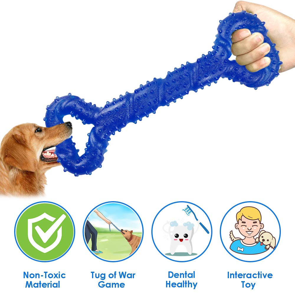bluee Lukovee Dog Chew Toy, 13 Inch Bone Shape Tug of War Toy Safe 100% Non Toxic Puppy Tooth Cleaning Toys for Small Medium Large Dogs Interactive Training Strong Tug Toy Rubber Toy (bluee)