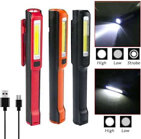 Battery Operated LED Torch Magnetic Pocket Work Light Inspection Lamp Orange