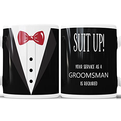 amazon com suit up groomsman invitation coffee mug your service