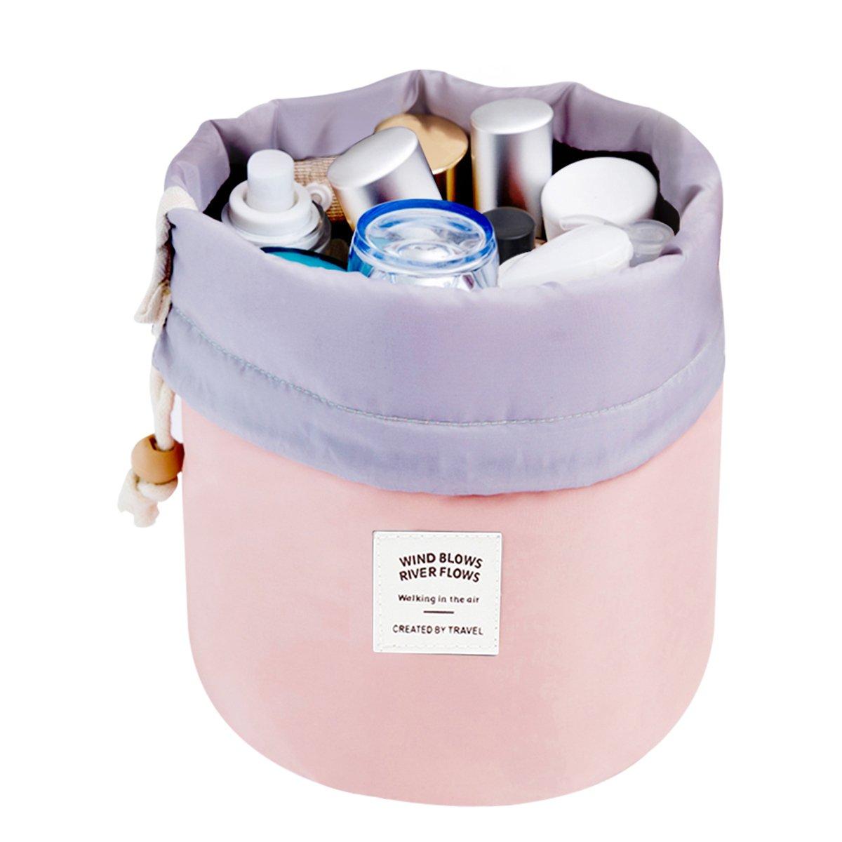 Mermaid Travel Make Up Bag Cosmetic Bags Organizer Women Girls Barrel Shaped Large Capacity Hanging Toiletry Wash Bags Drawstring Makeup Storage Bag + Small Pouch+Pvc Transparent Brush Bag (Pink) by Amazon