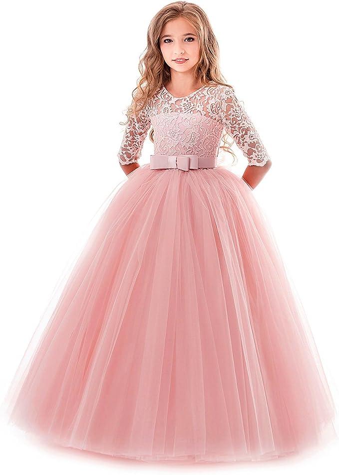 Amazon.com: MYRISAM - Vestido de primera comunión de encaje ...