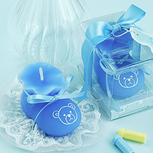 Baby Boy/girl Shoe Smokeless Candle Cake Topper Baby Shower Favors Giveaway with Thank You Card (Blue)