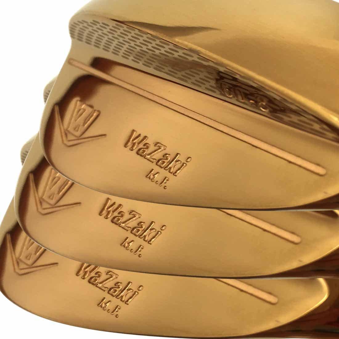 Wazaki Mプロゴルフクラブウェッジセッ右利き用 3本 ゴールド仕上げ 52 56 60度ロフト鍛造軟鉄 B01DND9L64