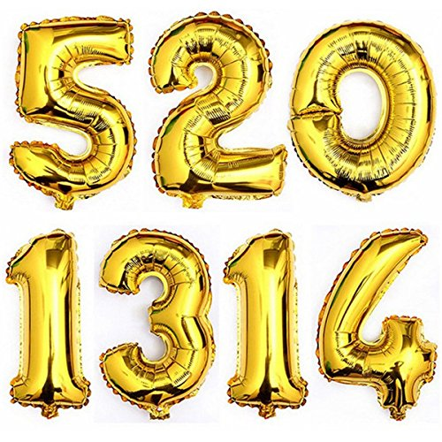 16 Gold 0-9 Number Balloons Foil Balloons Mylar Balloons for Party Decorations Party Supplies