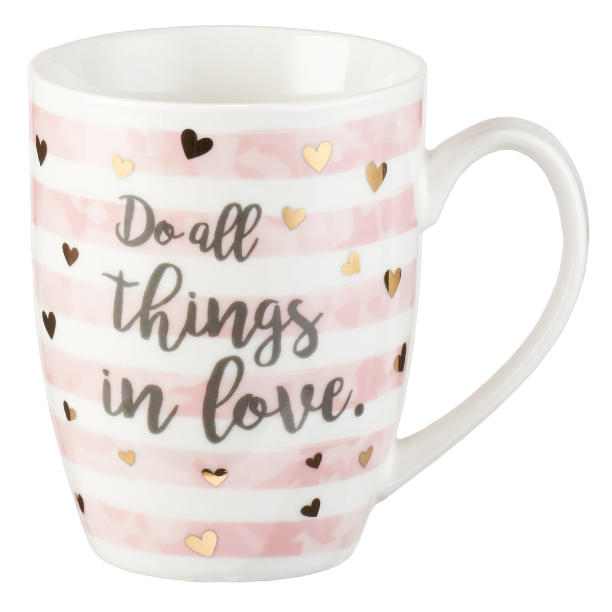 Mug - Do All Things In Love, Pink Stripe, 12 Ounce Christian Art Gifts
