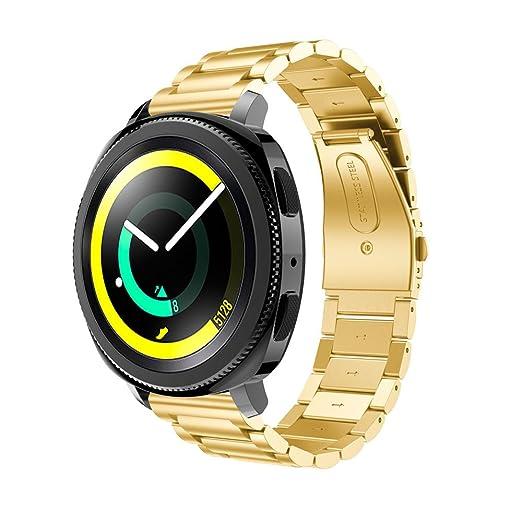 ☀️Modaworld Pulsera de Acero Inoxidable Correa de Reloj Inteligente Banda Muñequera para Samsung Gear Sport Smartwatch (Oro): Amazon.es: Deportes y aire ...