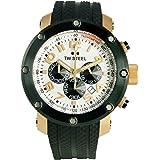 TW Steel - TW-87 - Montre Mixte - Quartz - Analogique - Chronographe - Bracelet Caoutchouc Blanc