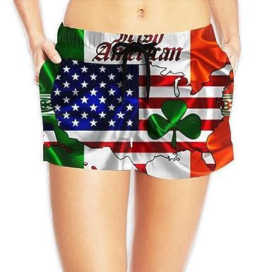 PPANFKEI Womens Irish American Flag Shorts Ladies Tennis Shorts at ... a872fdf4f2