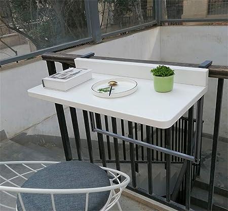 Plegable Mesa De Comedor Del Jardín Patio Mesa De Muebles Ajustable Imitación Madera Colgante Balcón Mesa De Terraza Para Áreas Y Balcones Patio Barandilla,Blanco,97 * 40cm: Amazon.es: Hogar