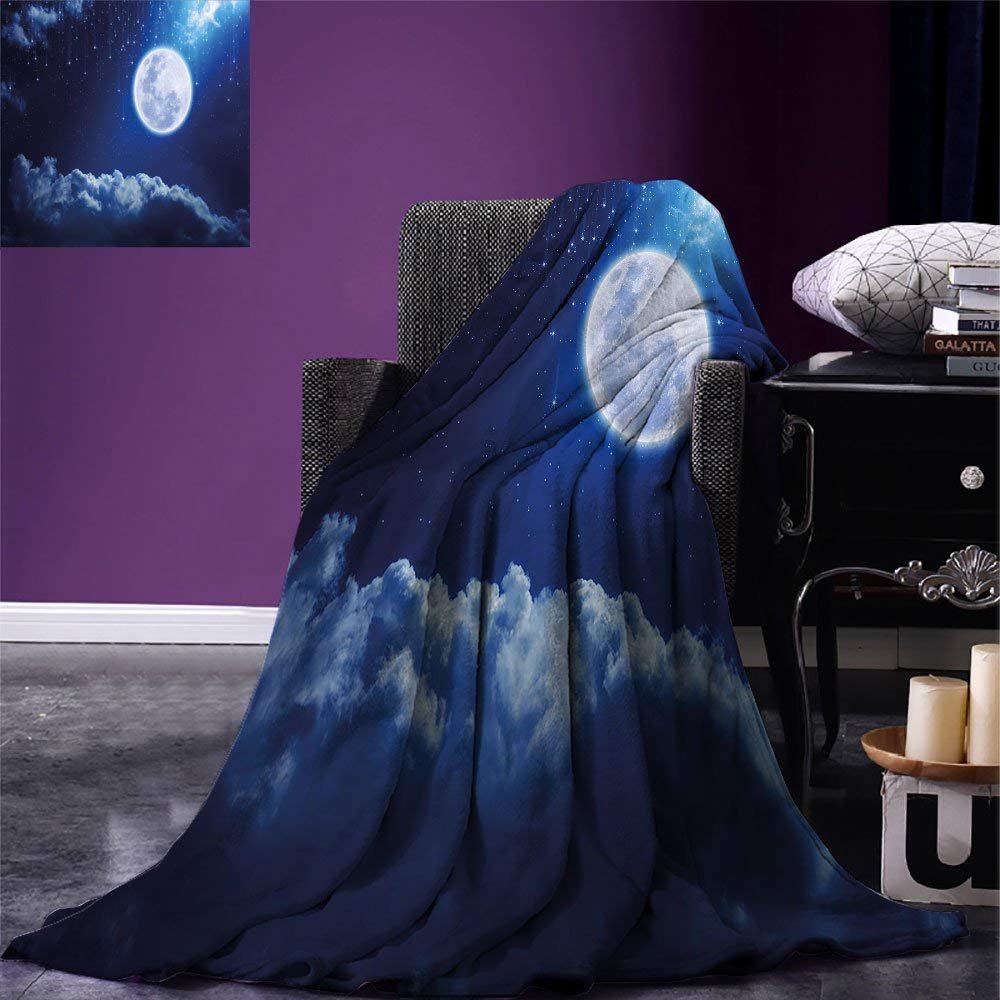 color12 80 x60  VAMIX Moon Warm Microfiber All Season Blanket Cartoon Owls Playing on The Moon Stars in The Background colorful Drawing Style Print Print Artwork Image£¬Multicolor, Multicolor, Blanket