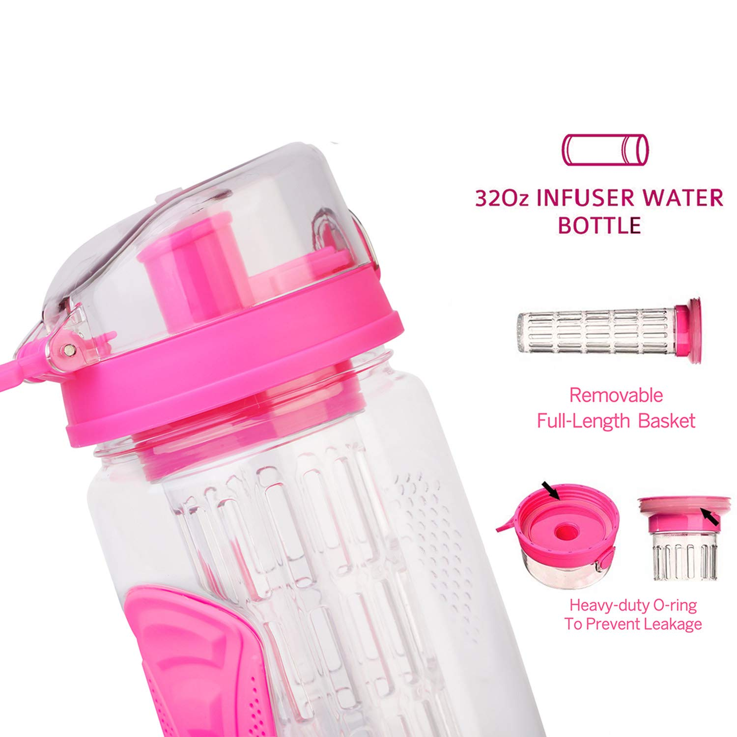 TeqHome Ultra Portable Fruit Infuser Water Bottle 32 OZ Sports Bottle Travel /& to-Go Drinkware Water Bottles Flip Top Lid /& Dual Anti-Slip Grips with Thumb Releasing Button