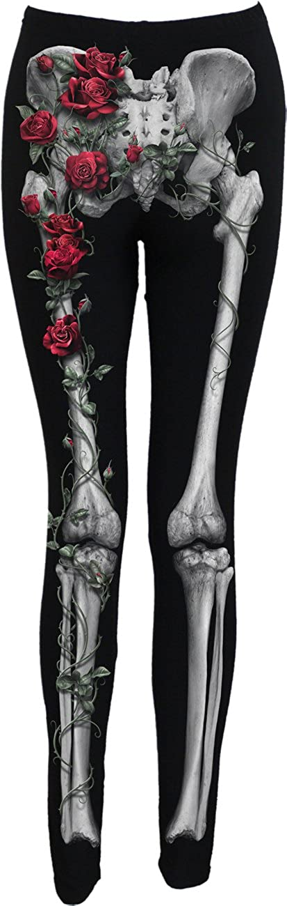Spiral Direct ROSE BONES Women/'s All Over Print Comfy Fit Leggings Rock Goth