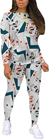 2 Piece Outfits for Women - Casual Poker Face Printed Two PC Sets Long Sleeve T Shirts + Skinny Pants Sweatsuits