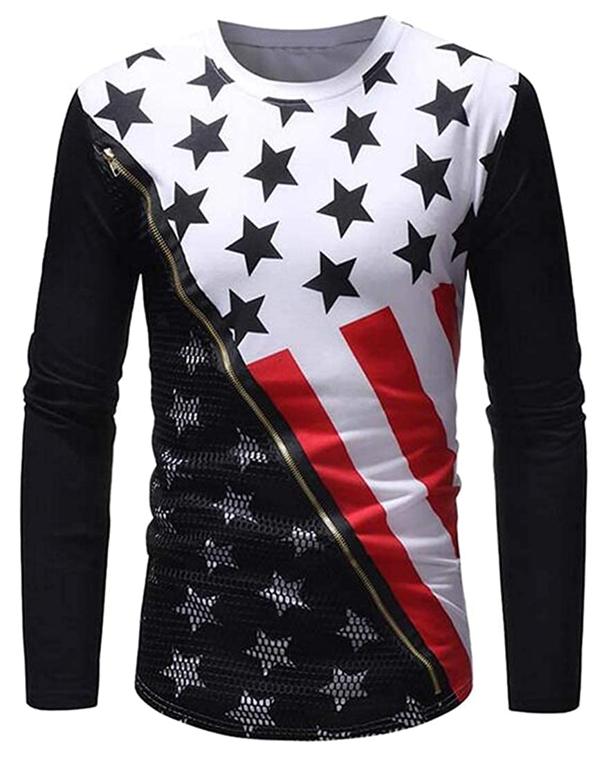 SHOWNO Men Casual with Zip Deco Round Neck American Flag Print Long Sleeve T-Shirt Tee Top