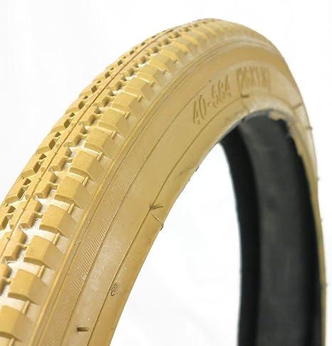 OldNewBikes Juego de Cubiertas Beige (2 Unidades) para Bicicleta clásica, Medidas 26x1,1/2